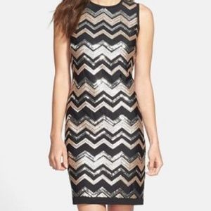 Vince Camuto Black and Gold Dress